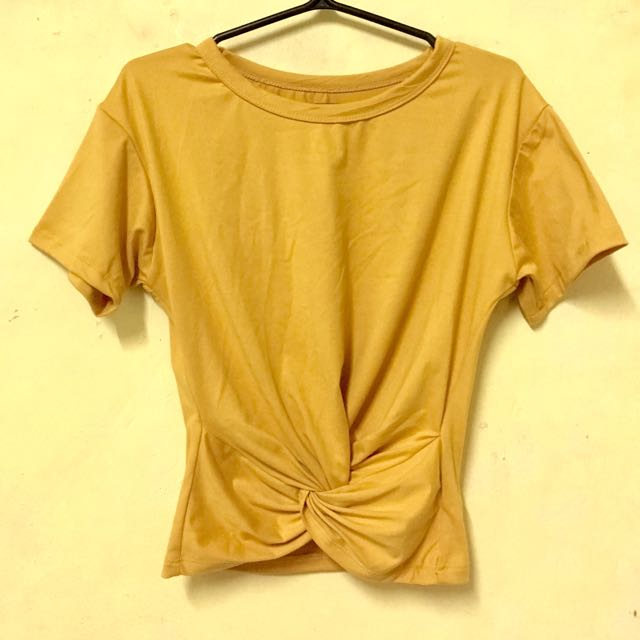 Mustard Twisted Crop Top