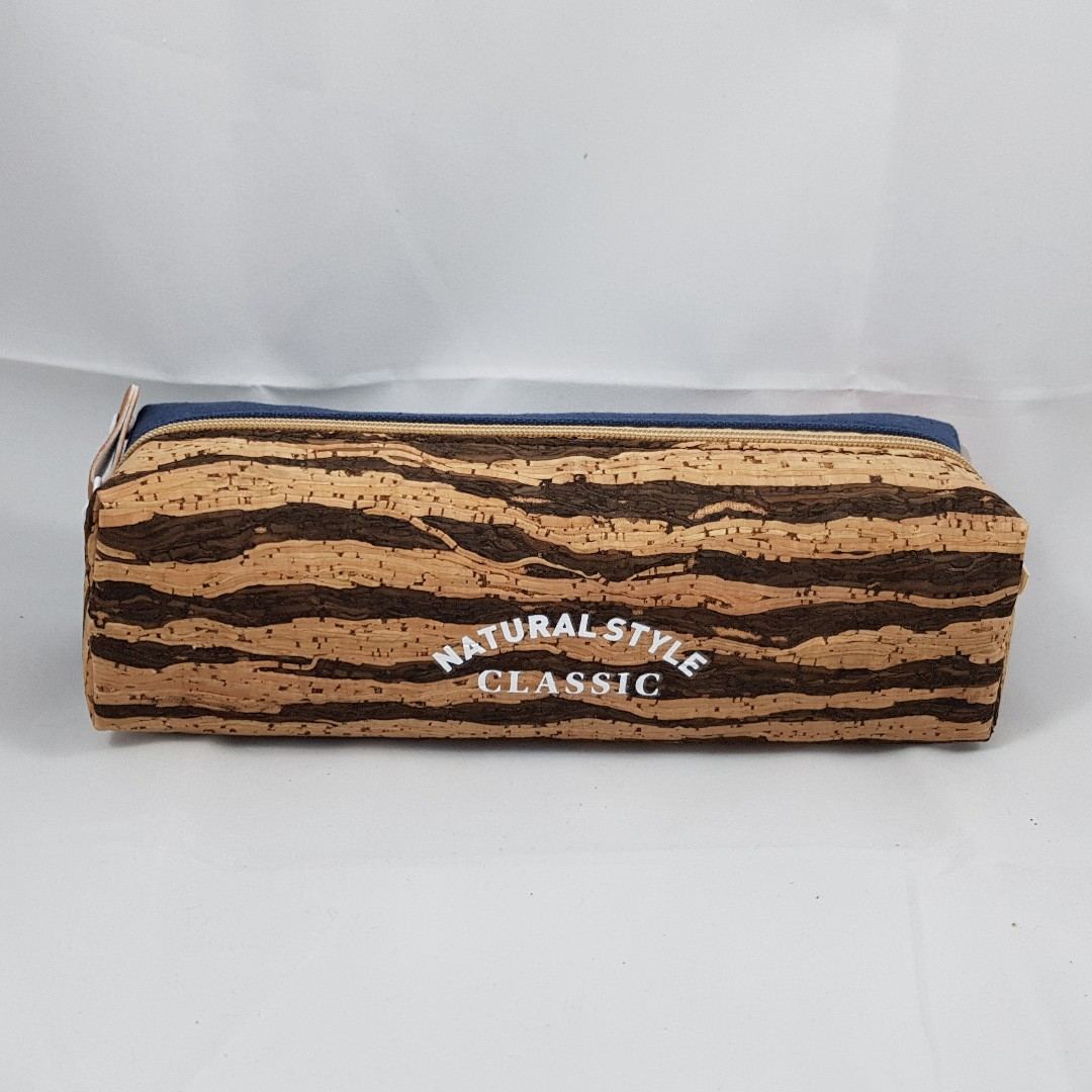 Natural Style Cork with Blue Canvas Pencil Case