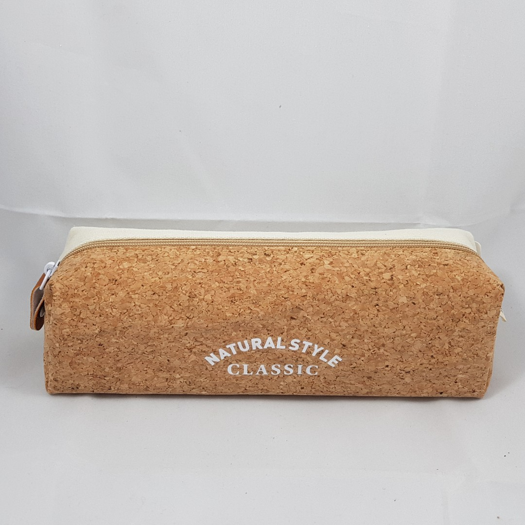 Natural Style Cork with White Canvas Pencil Case