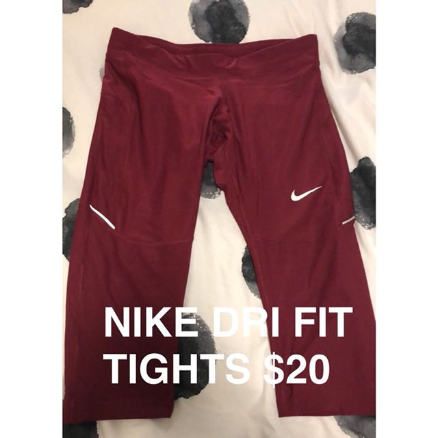Nike Dri Fit Tights maroon. SZ L.  $20