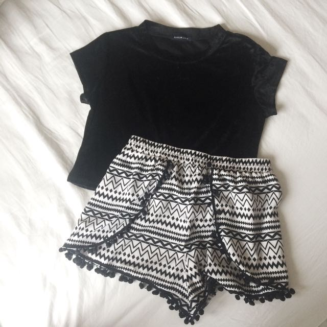 OUTFIT Velvet Crop Top And Pom Pom Shorts