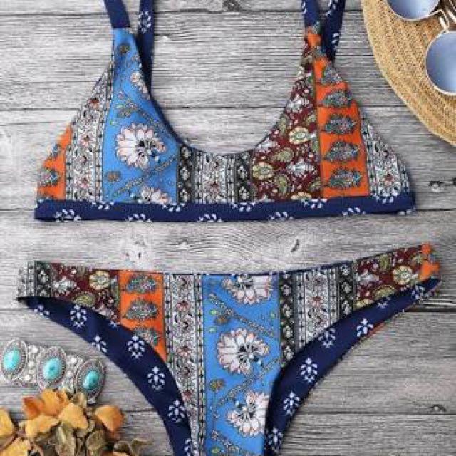 Patchwork Print Scoop Bikini - Blue