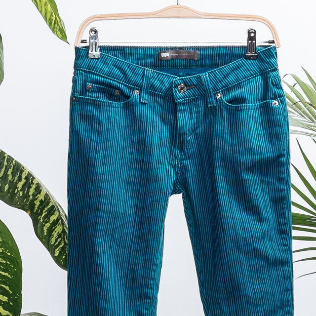 Pin stripped turquoise skinny
