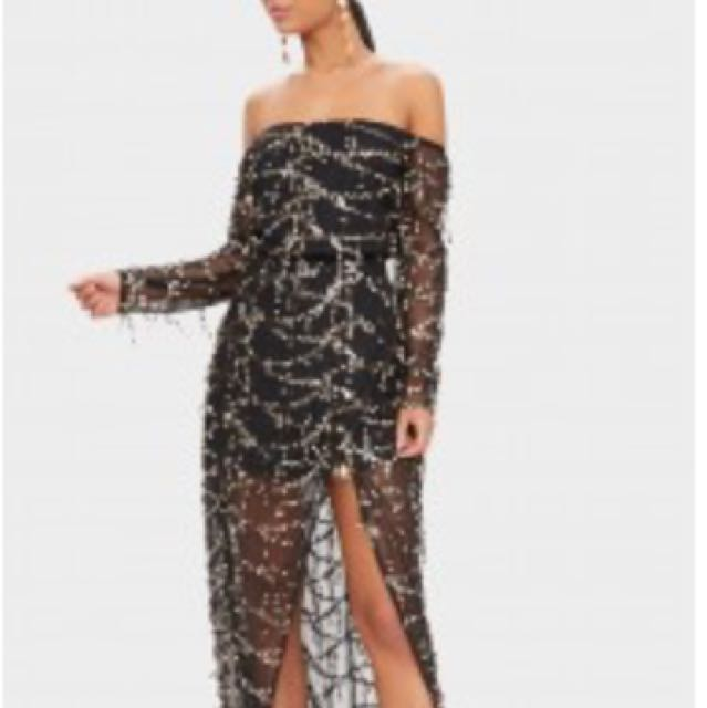 PLT sequin formal black off the shoulder dress