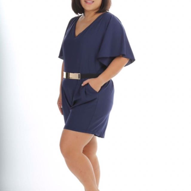 821b4cf5342 Plus size love pretty + kimono navy romper jumper
