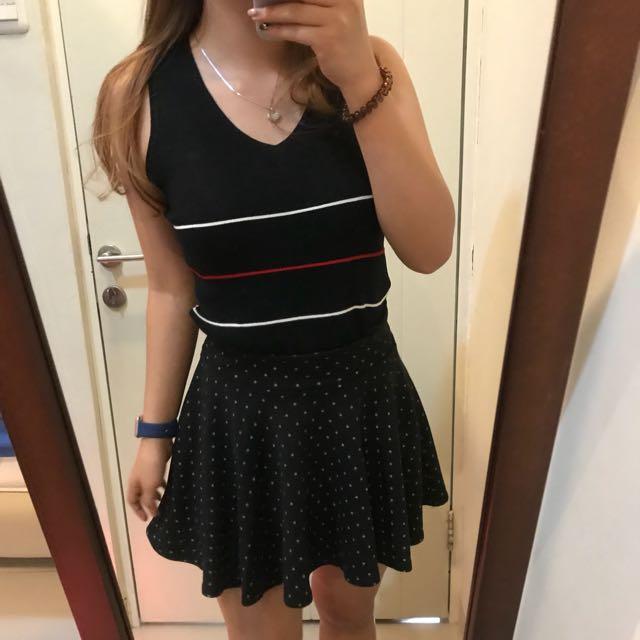 Polkadot flare skirt