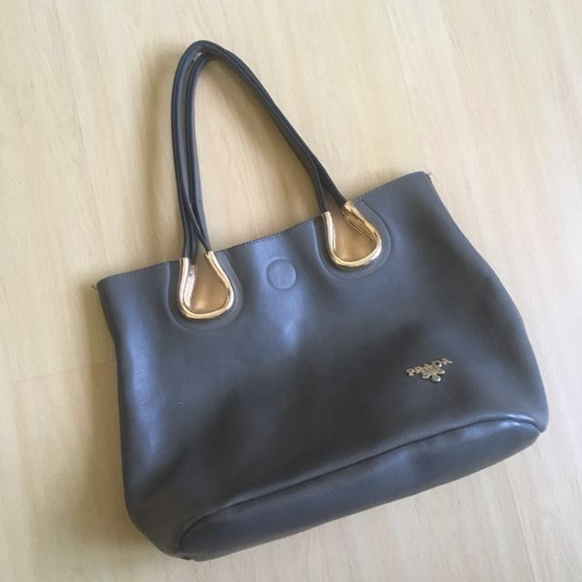 Prada Grey Tote Bag
