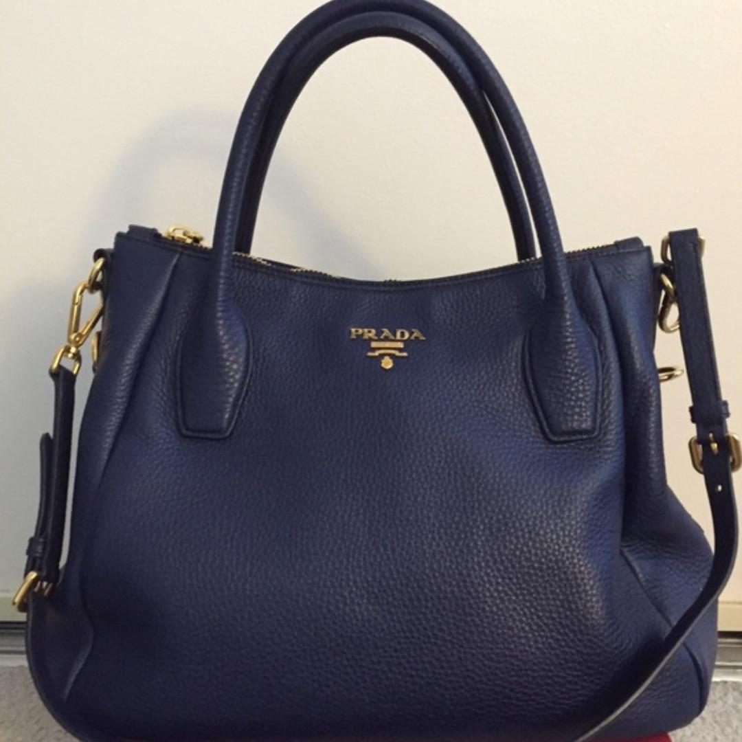 fecb02e22a5 Prada Vitello Daino Leather Convertible Bag saffiano leather Blue authentic  top handle sling bag authentic original on Carousell
