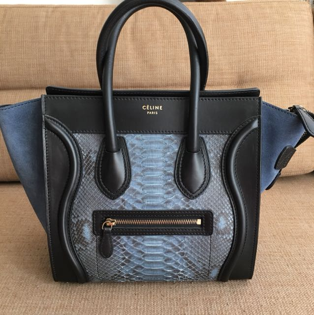 Pre-owned Celine Micro Luggage (snakeskin) bfe6b76483f88