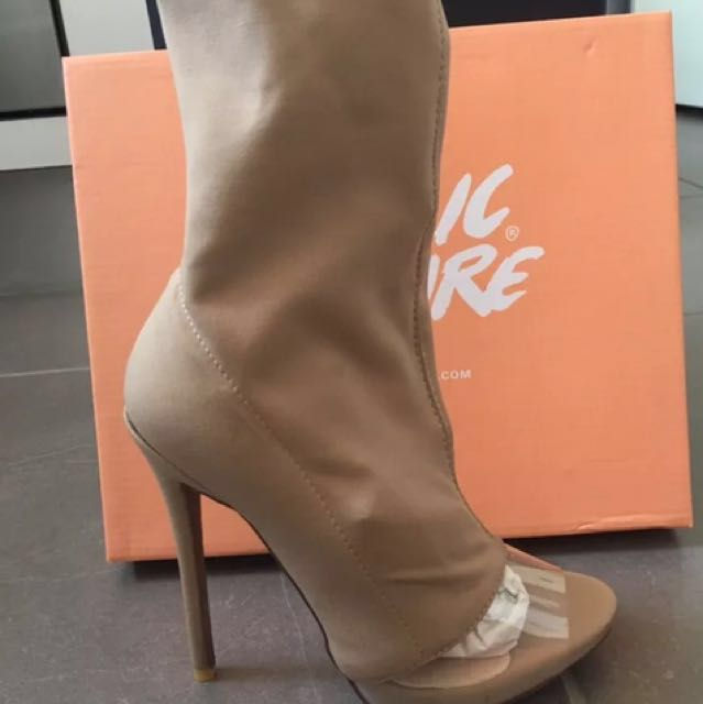 Public Desire Perspex Detail Sock Fit Boots Nude