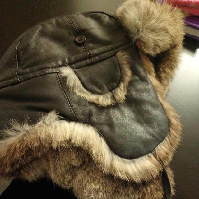 Real leather and rabbit hat