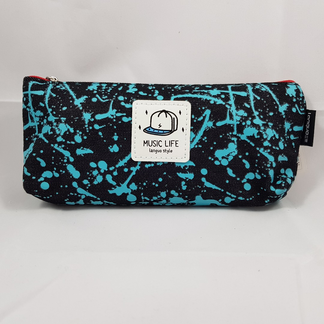 Splatter Paint Pencil Case (Blue with Black)