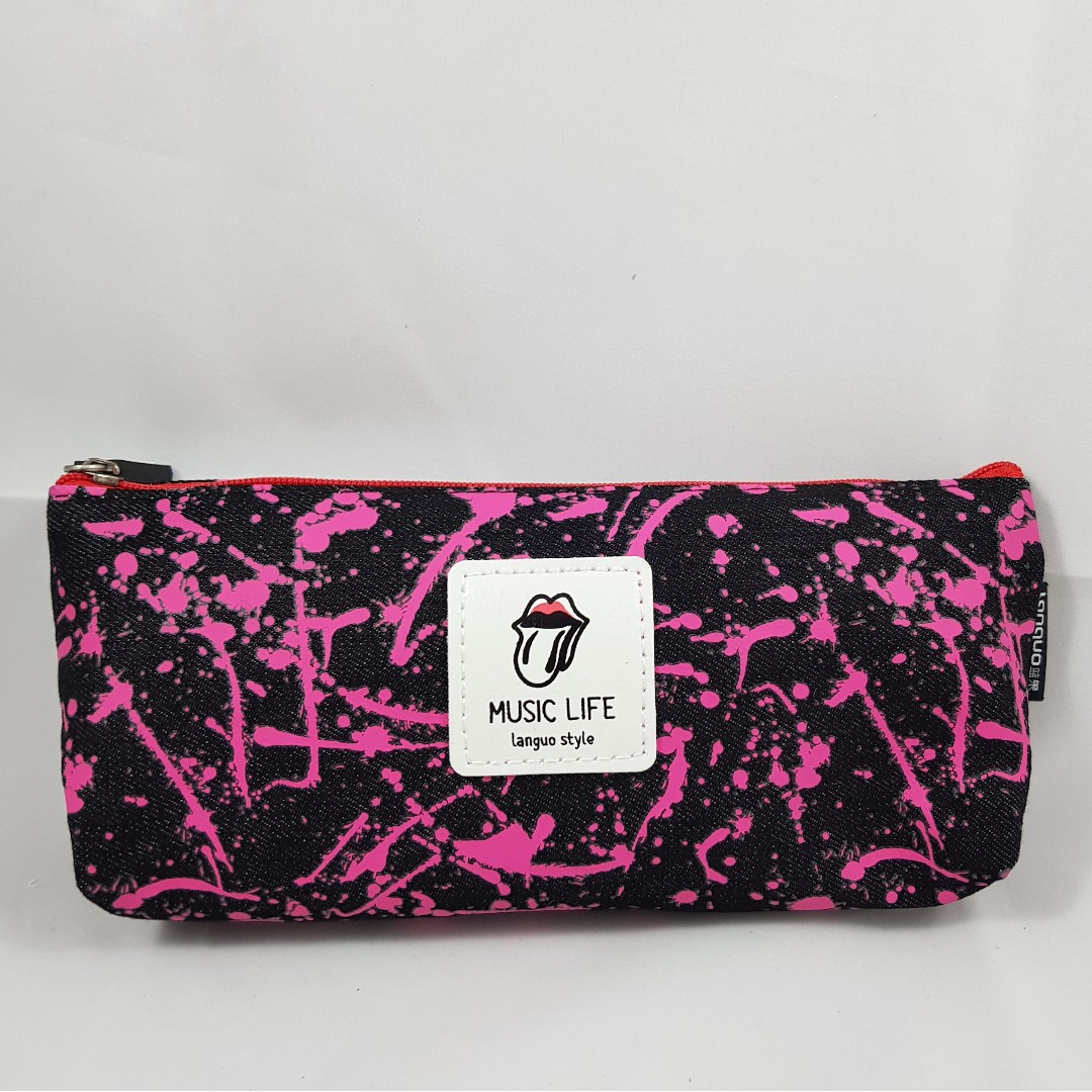 Splatter Paint Pencil Case (Pink with Black)