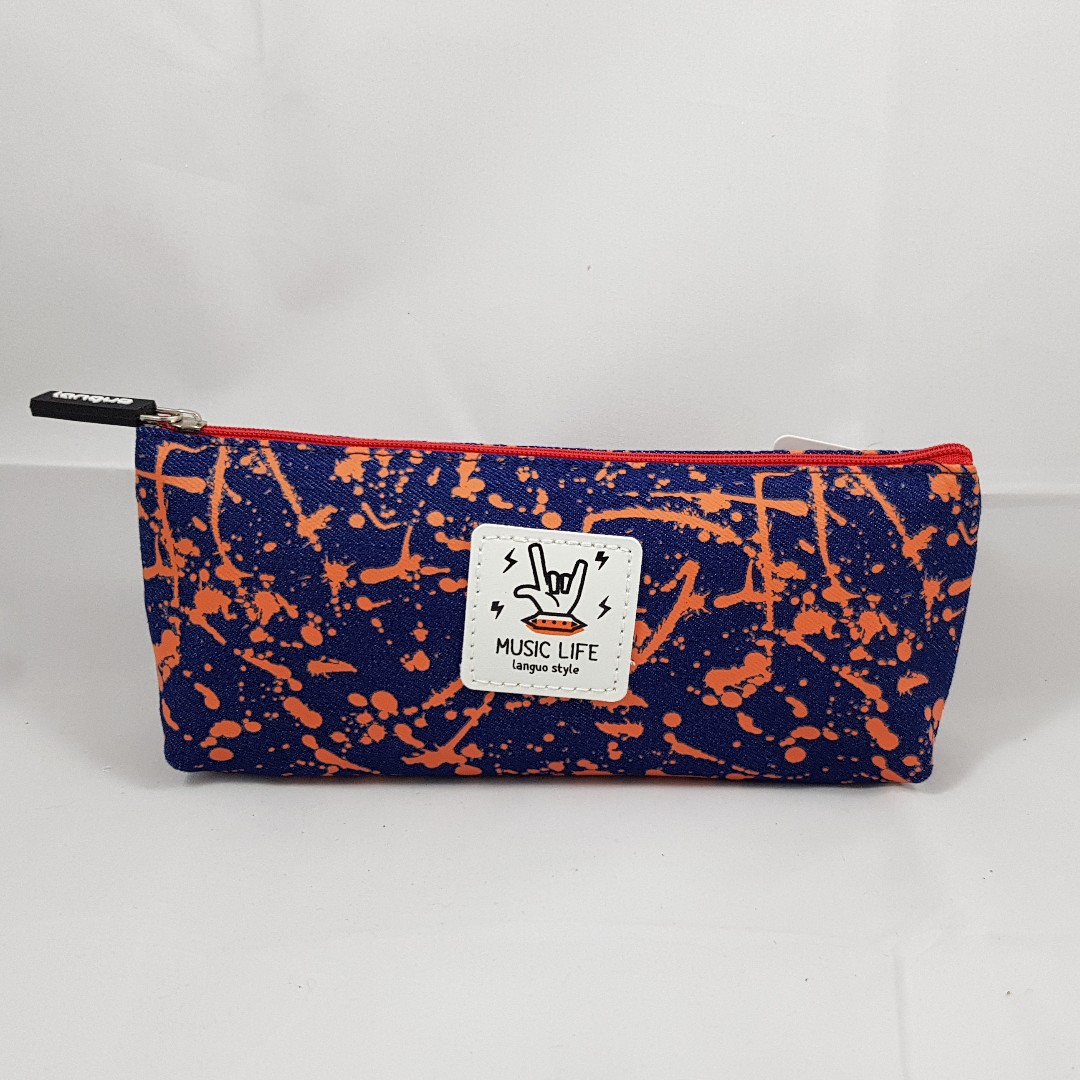 Splatter Paint Pencil Case (Orange with Blue)