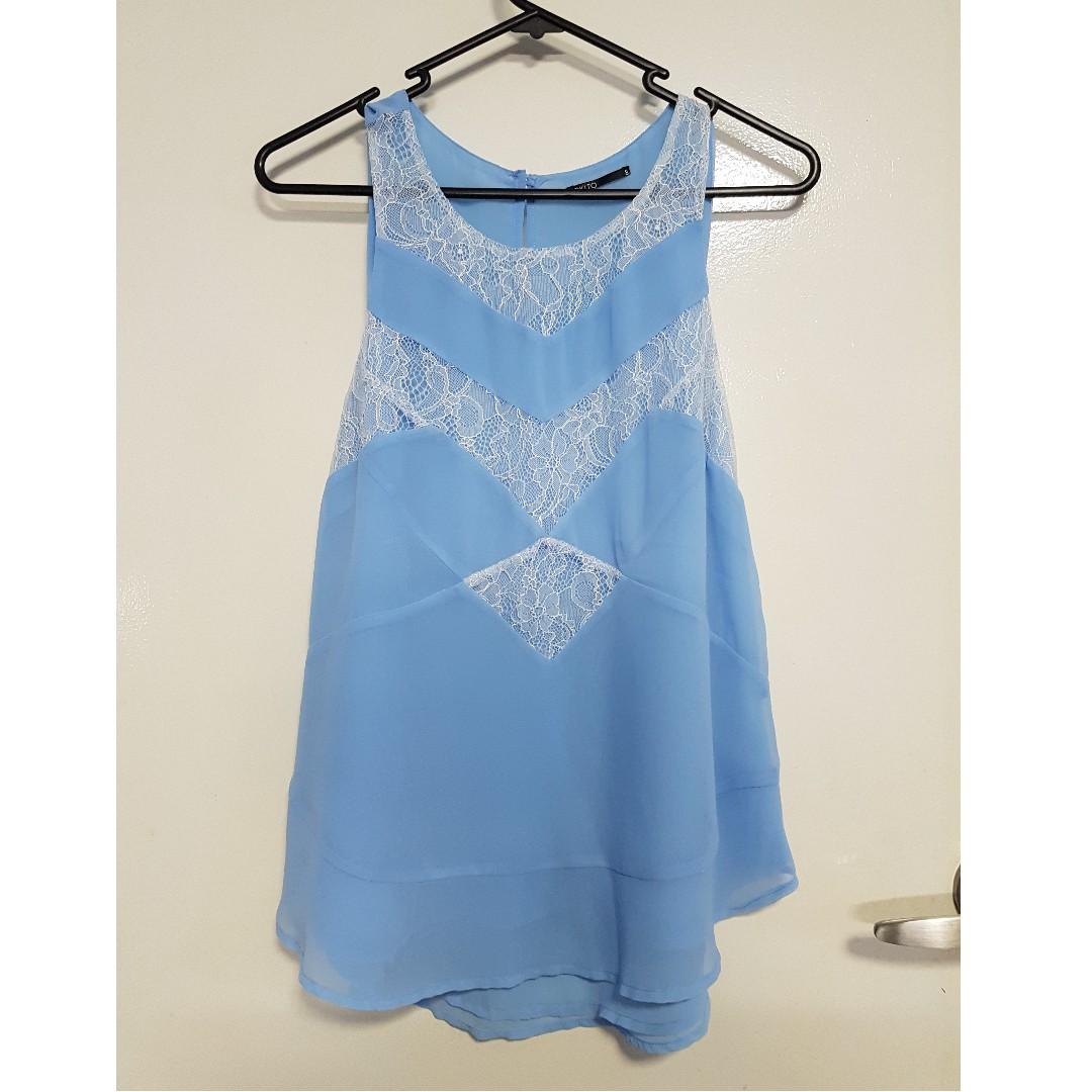 Tokito Blue/White Lace Top