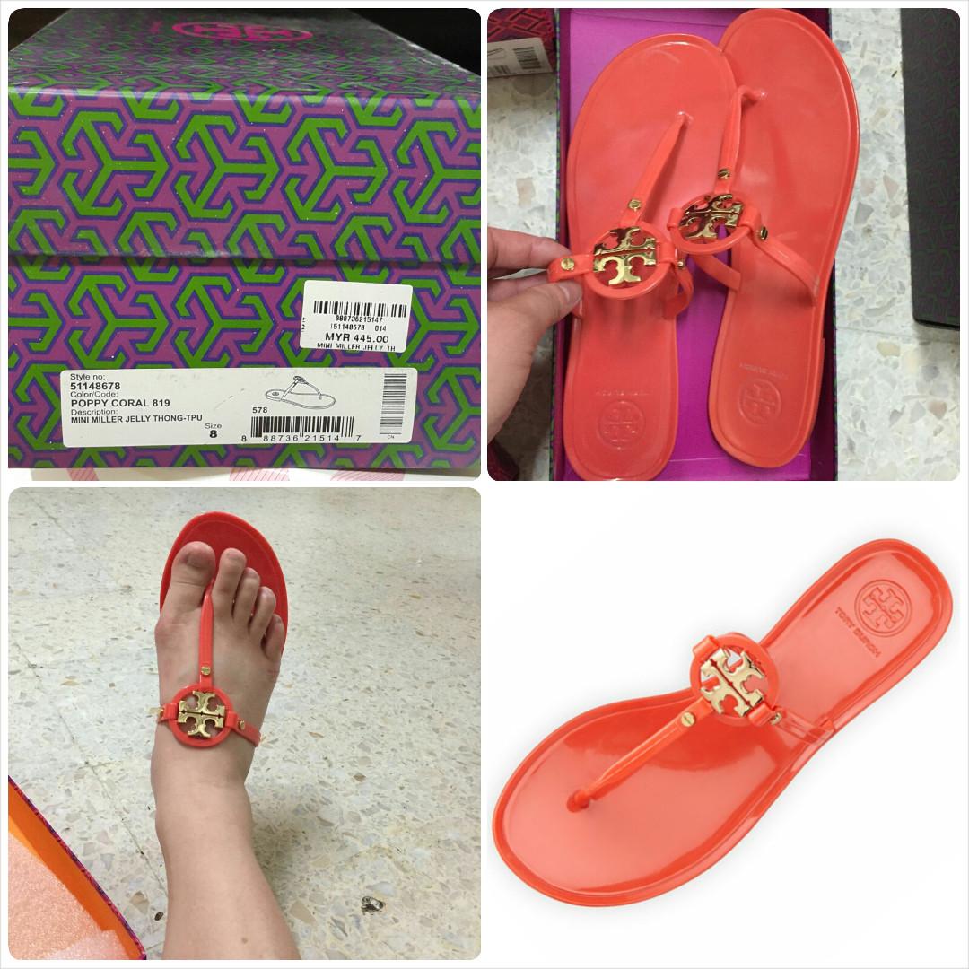 ac62c1a9c Tory Burch Mini Miller Jelly Thong Sandals TPU - Poppy Coral Orange  authentic original