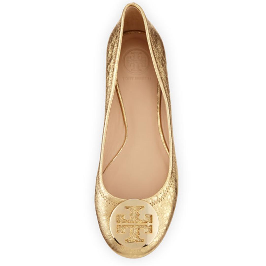 6600b6ac0 Tory Burch Reva Metallic Ballerina Flat shoes - Saharan Gold ...