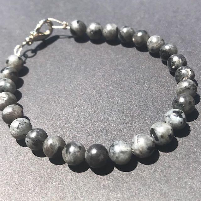 Unikite gemstone beaded bracelet || handmade
