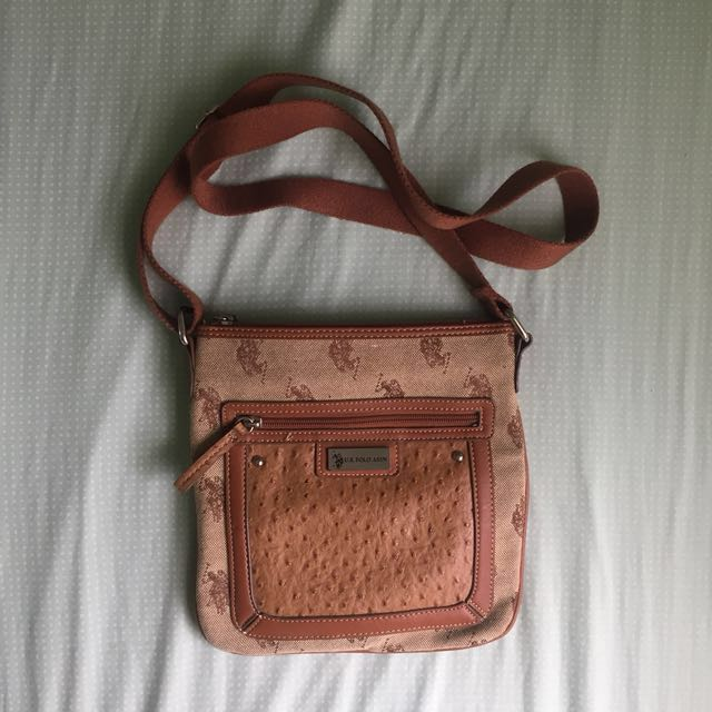 [US POLO ASSN] Brown Crossbody Satchel Bag