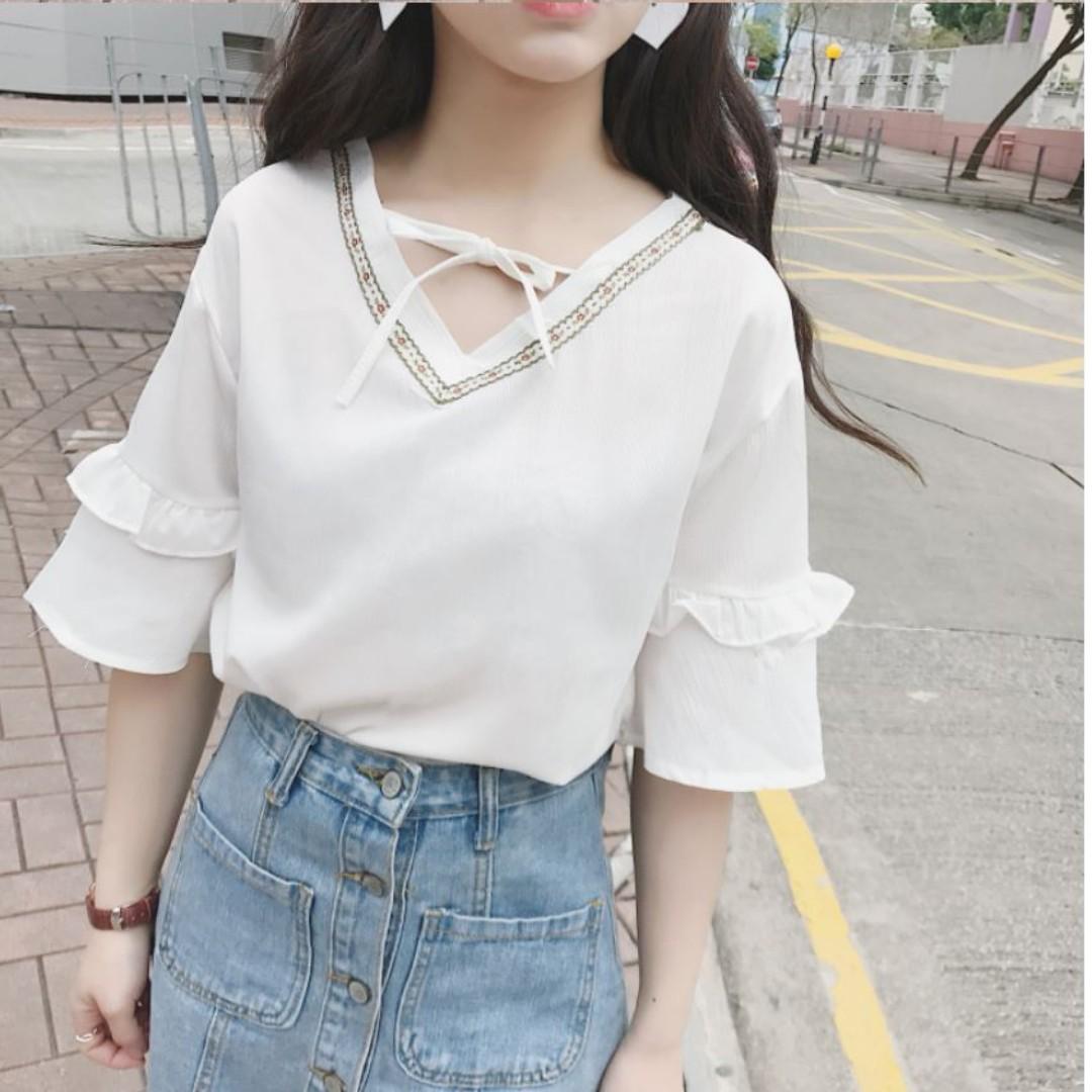 夏季仙女款甜美V領中袖雪紡衫