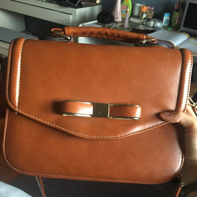 Brown Fake Leather Cross Body Bag