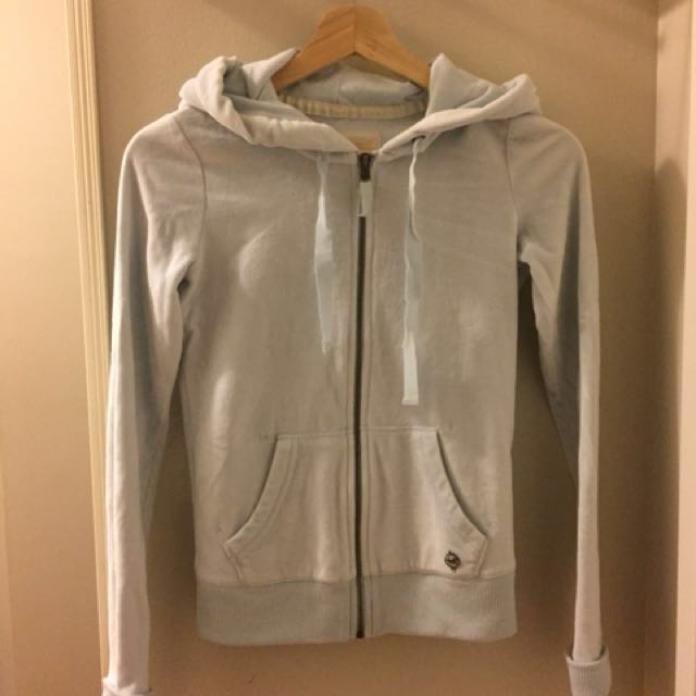 Velour Hollister Baby Blue Zip Up