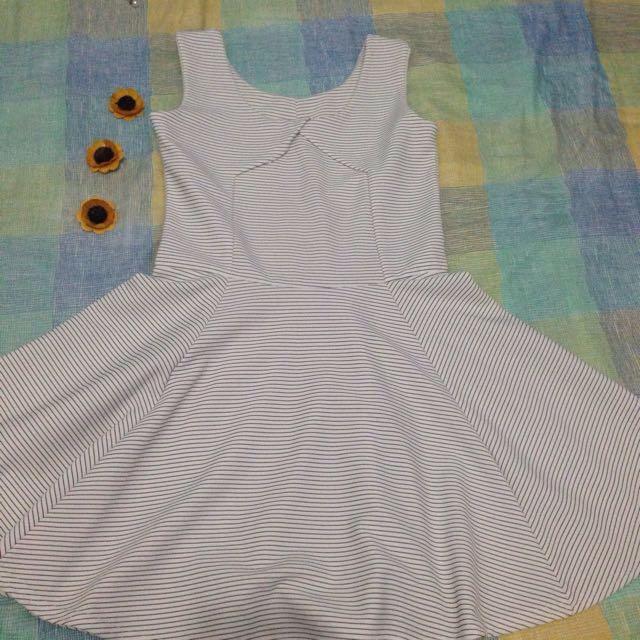 White and striped-black Dress
