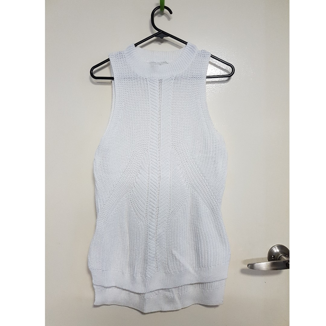 White Knitted Sleeveless Top