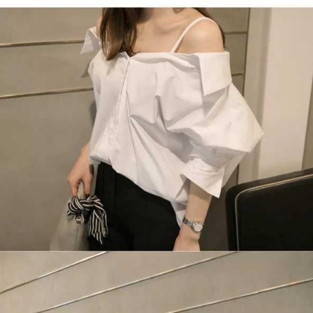 ea6ac40db9c1d white oversized collar off shoulder top