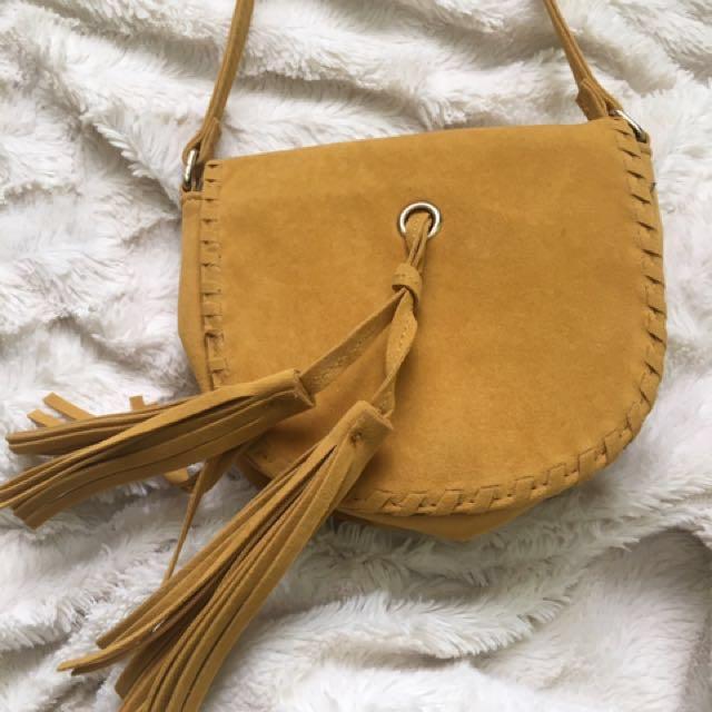 Yellow Suede Effect Crossbody Bag
