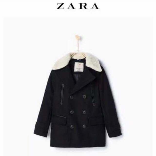 Zara 全新毛呢外套 羔毛領