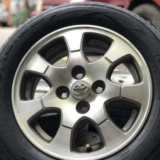 Original vios sports rim 15 inch tyre 70% . People choose original because of quality bro!!!