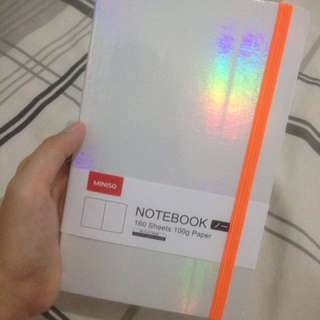 Silvery notebook by miniso
