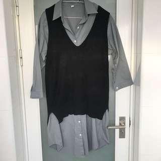 兩件式長版襯衫+背心 全新品
