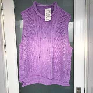 薰衣草紫麻花針織背心 全新品