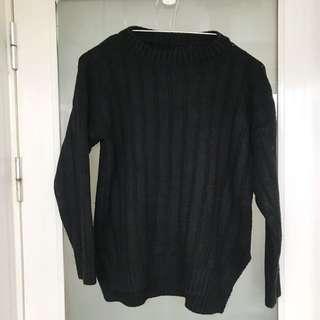 黑色圓領針織毛衣