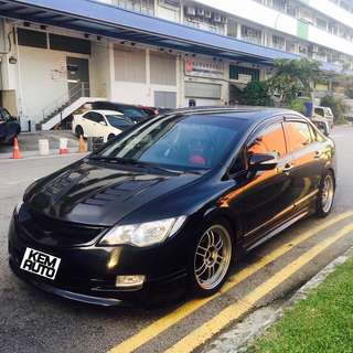 Sporty & Fast HONDA CIVIC FD2 2.0M with bodykit / coilover / fujitsubo exhuast / enkei rims / CF bonnet