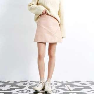 冬季複古磨砂PU皮高腰顯瘦粉色半身裙