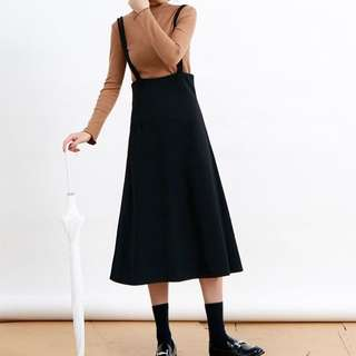 複古雙肩吊帶顯瘦收腰連身裙
