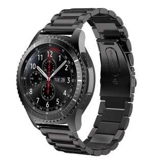 黑鋼Samsung Gear S3 錶帶  (不包錶!)