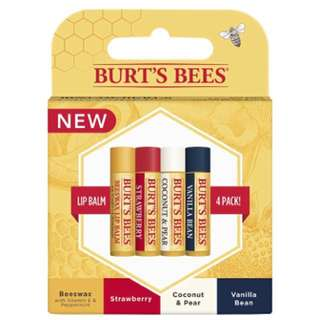 🌈(Ready Stock) Burt's Bees 100% Natural Moisturizing Lip Balm, Multipack - Original Beeswax, Strawberry, Coconut & Pear and Vanilla Bean with Beeswax & Fruit Extracts - 4 Tubes