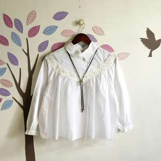 Therese White Collar Top