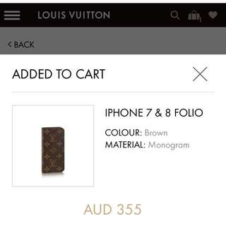 Authentic LV iPhone 7 Folio Case