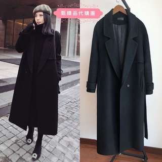 秋冬新款加厚夾棉長版黑色毛呢繫帶大衣外套