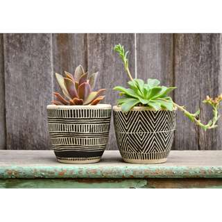 White and Black African Inspired Patterned Plant Pot Planter