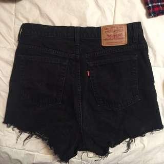 Levi's high waisted black denim shorts
