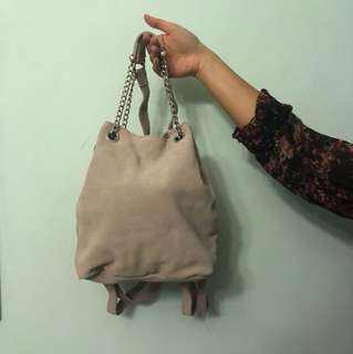 UO Blush Real Cow Suede Bucket backpack/bag