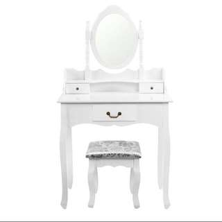 NEW IN BOX - WHITE DRESSER AND STOOL SET UP