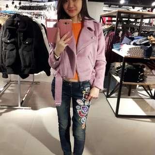 🚚 Forever21粉紫色絨外套