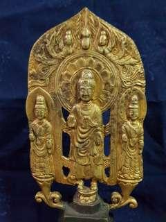 琉金西方三圣古铜造像。Brass Buddha Image.